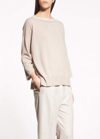 CASHMERE PULLOVER, NATURAL AND WHITE