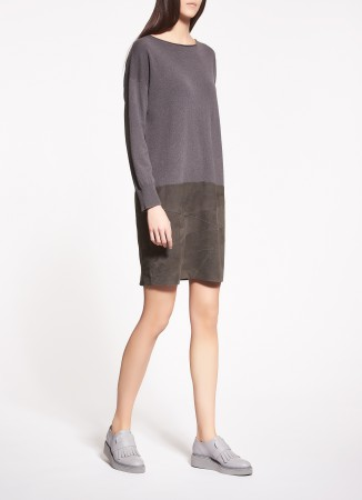 WOVEN WOOL AND SUEDE DRESS, GREEN PATH