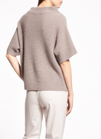 WOOL AND MOHAIR CAPE, DOVE GREY AND BONSAI