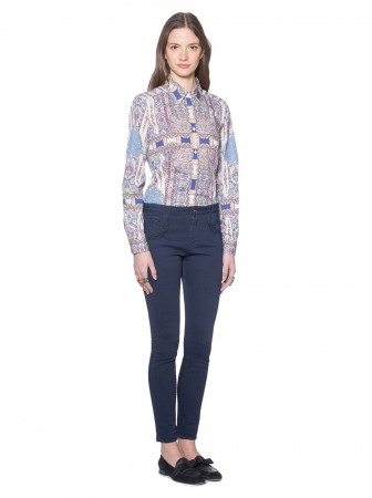 Oriental fitted cotton shirt