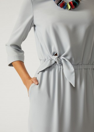 Dress With Elasticated Waist And Knot
