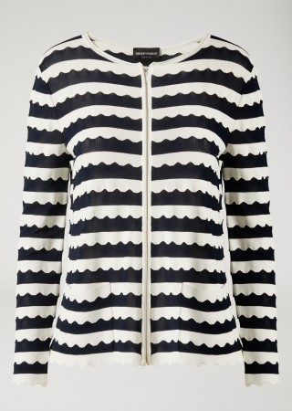 Knitted Cardigan With Wave Motif