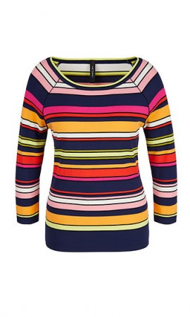 Sweater with multicoloured stripes