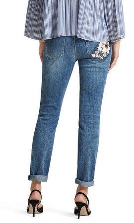 Jeans with embroidery patches