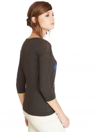 Wool and silk sweater with intarsia