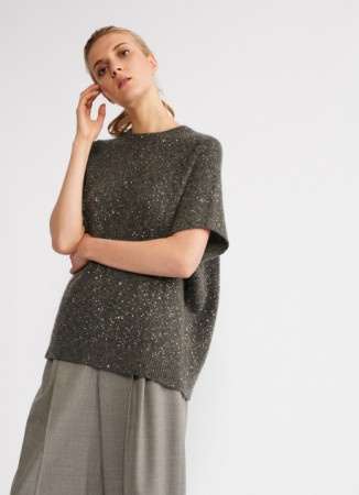 WOOL AND SILK PULLOVER, ASH GREY
