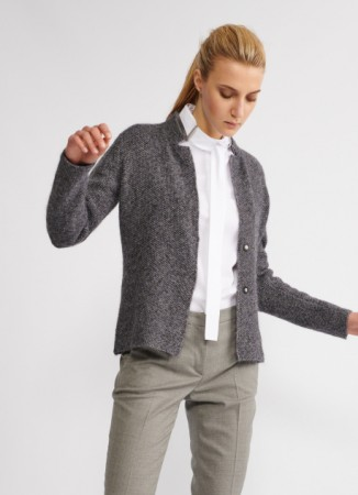 WOOL AND MOHAIR CARDIGAN, AVIATOR BLUE AND LONDON GREY