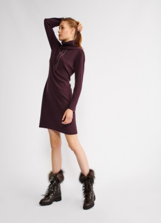 WOVEN WOOL DRESS, GRAPE