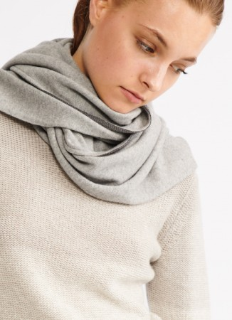WOOL, SILK AND CASHMERE SCARF, ASH GREY