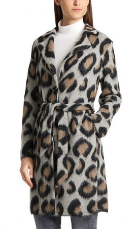 Jacquard-knit coat with leopard pattern