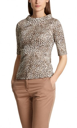 Ribbed top with leopard pattern