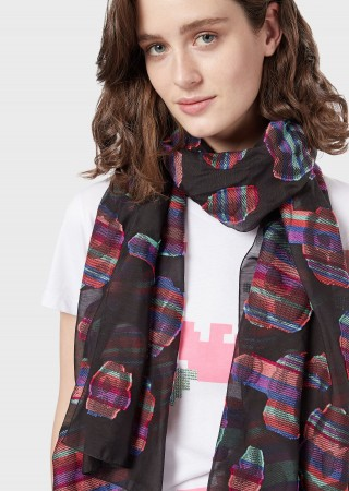Emporio Armani wool and silk stole with floral jacquard