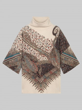 Paisley print knitted poncho