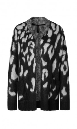 Marccain knitted jacket with leopard jacquard